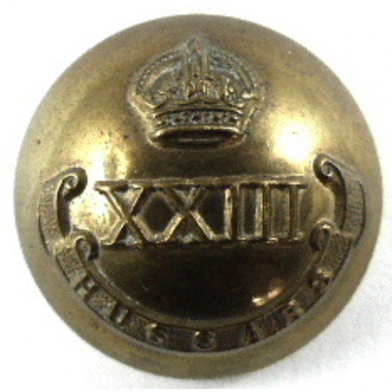 23rd Hussars Officers Brass Tunic Button 21.5mm