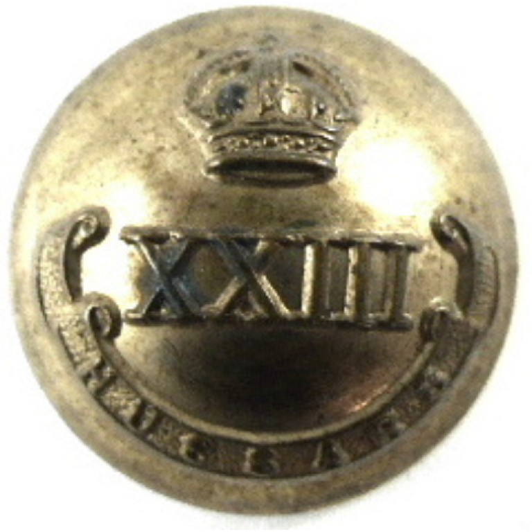 23rd Hussars Officers Brass Tunic Button 21mm