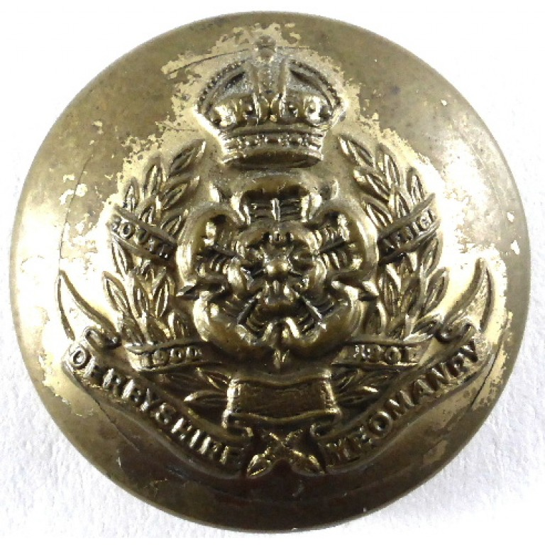Derbyshire Yeomanry Officers Brass Button 24mm