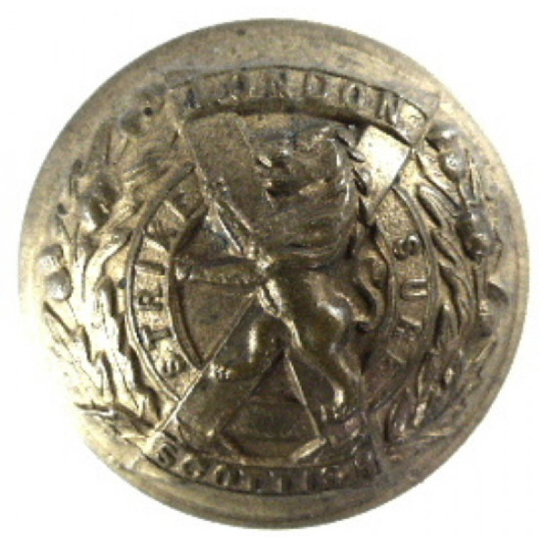 London Scottish Officers Large Brass Button 26mm