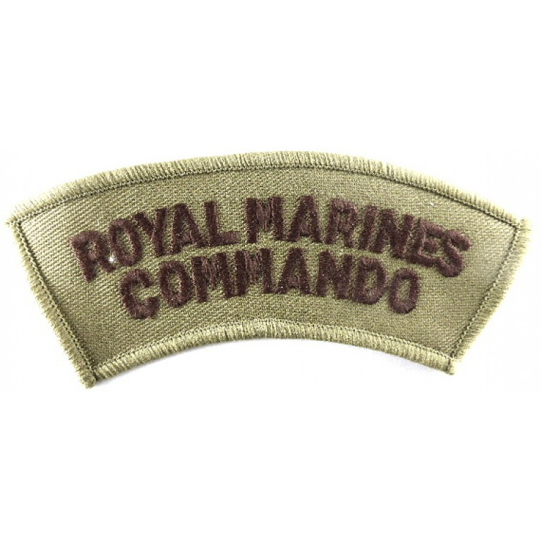 Royal Marines Commando Cloth Shoulder Title Brown On Sand