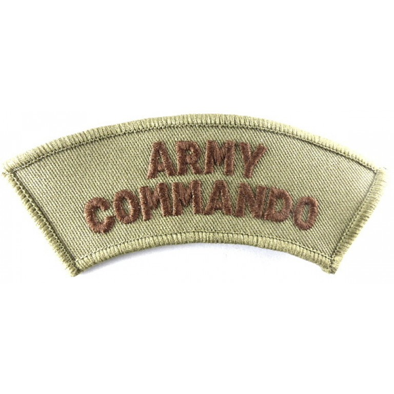 Army Commando Cloth Shoulder Title Brown On Sand