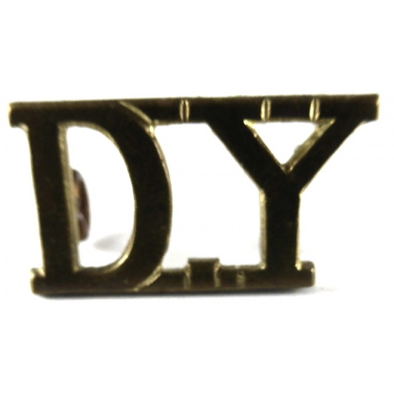 Derbyshire Yeomanry Officers Brass Shoulder Title 14 mm