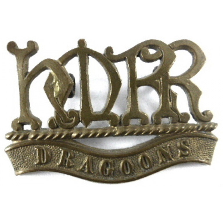 Her Majesty`s Reserve Regiment Dragoons Brass Shoulder Title