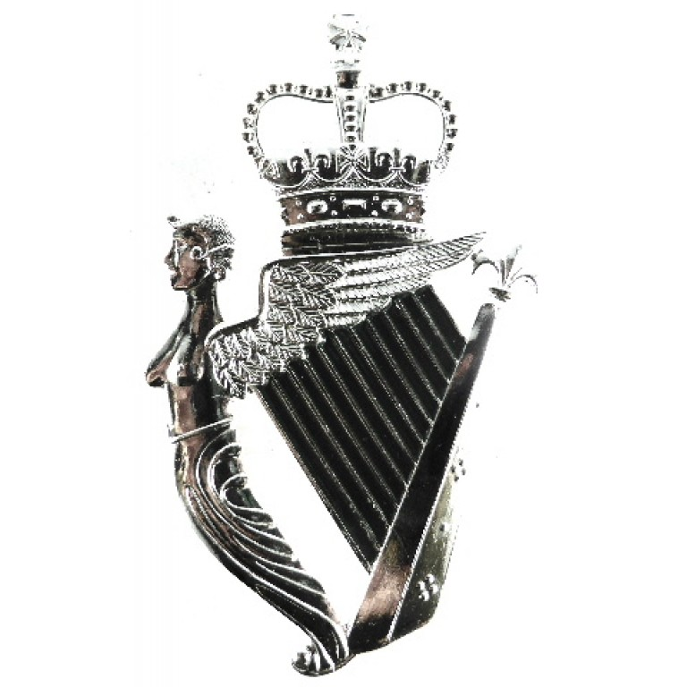 Royal Irish Regiment Pipers Bright Plated Cawbeen Badge