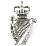 Royal Irish Regiment Pipers White Metal Cawbeen Badge