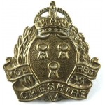 Cheshire Volunteer Regiment WW1 VTC Brass Cap Badge