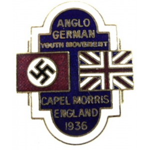 Anglo German Youth Movement Capel Morris England 1936 Lapel Badge