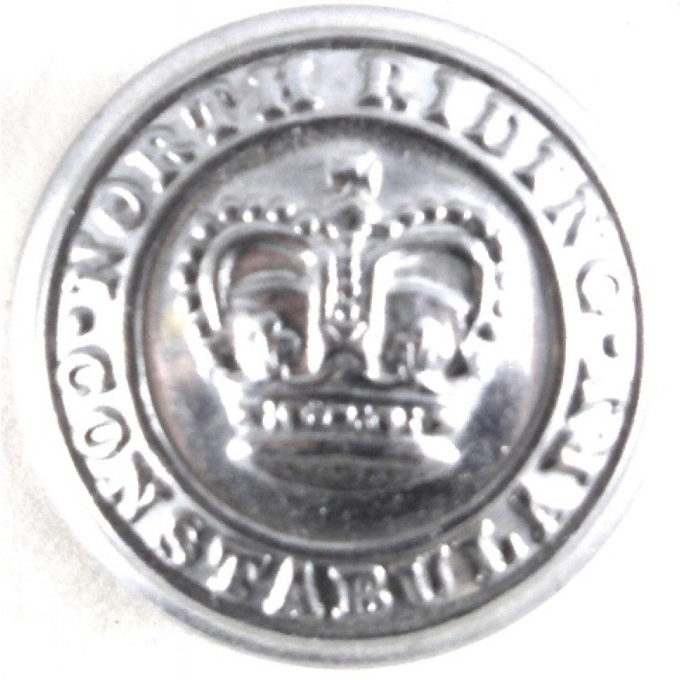 North Riding Constabulary Large Chrome Button 24mm