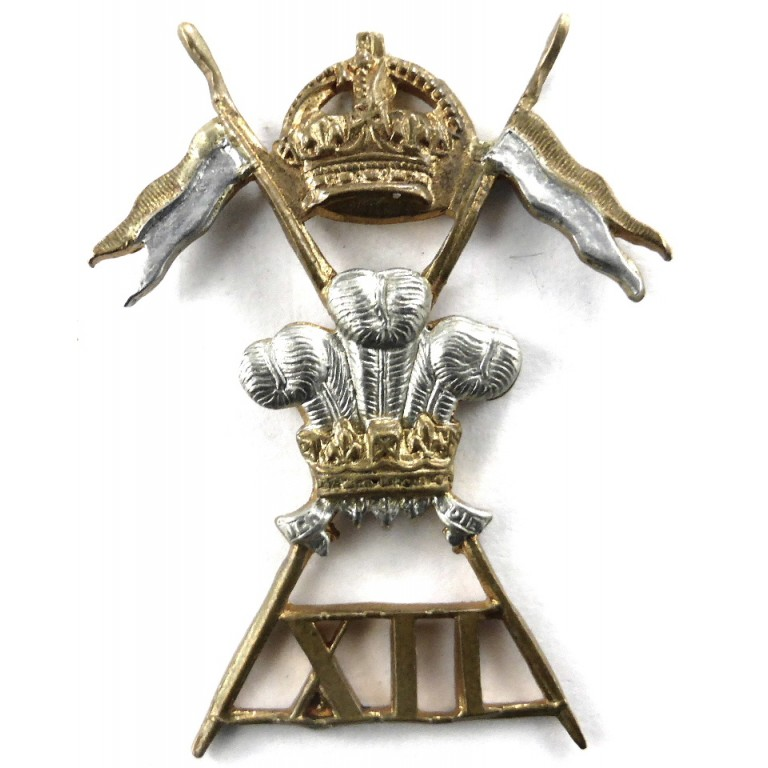 12th Royal Lancers Bi Metal Small Crown Cap Badge