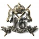 16th The Queens Lancers Bi Metal Cap Badge