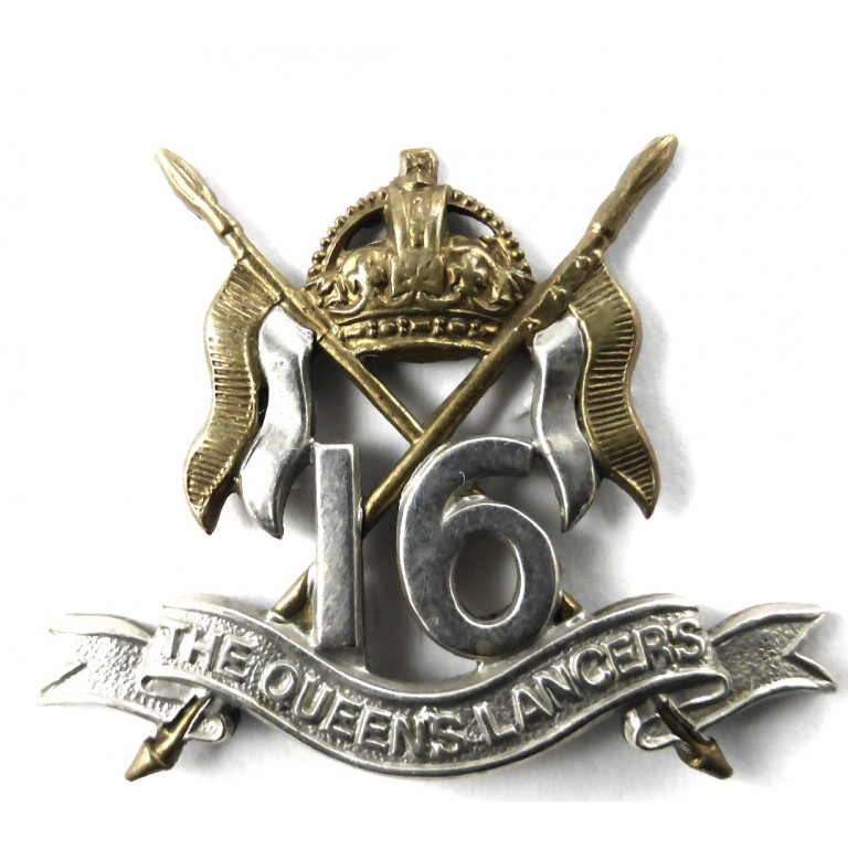 16th The Queens Lancers Beret Badge Bi Metal