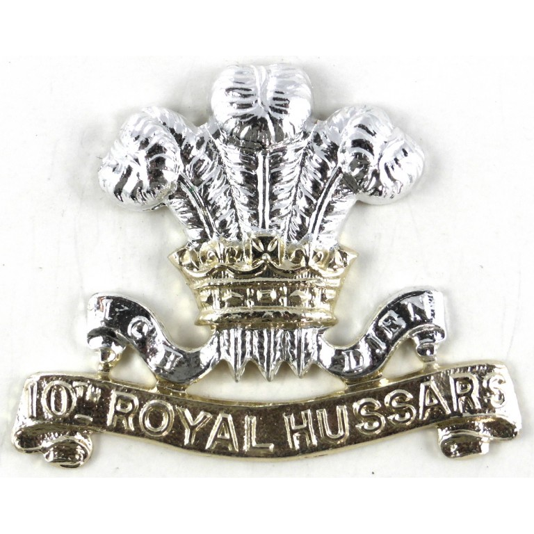 10th Royal Hussars Anodised Aluminium Cap Badge