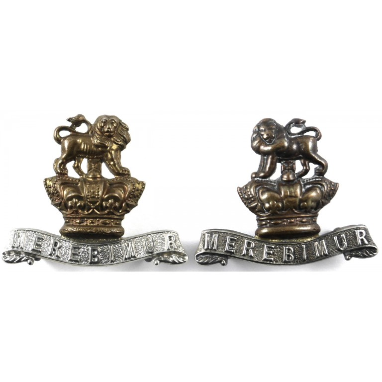 15th Kings Hussars Victorian Bi Metal Collar Badges