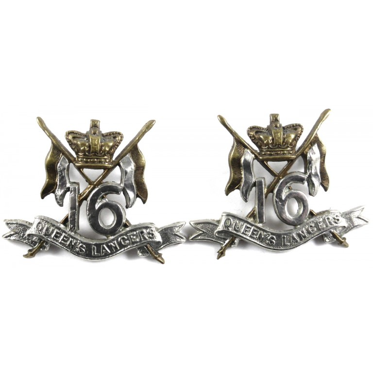 16th Queens Lancers Victorian Pair Of Collar Badges
