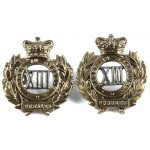13th Hussars Victorian Pair Of Collar Badges