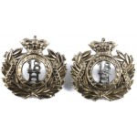 18th Hussars Victorian Pair Of Collar Badges