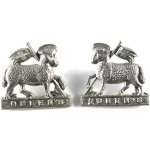 24nd London The Queens White Metal Collar Badges