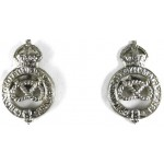 Staffordshire Yeomanry Pair Of White Metal Collar Badges