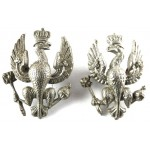 14/20th Hussars White Metal Collar Badges