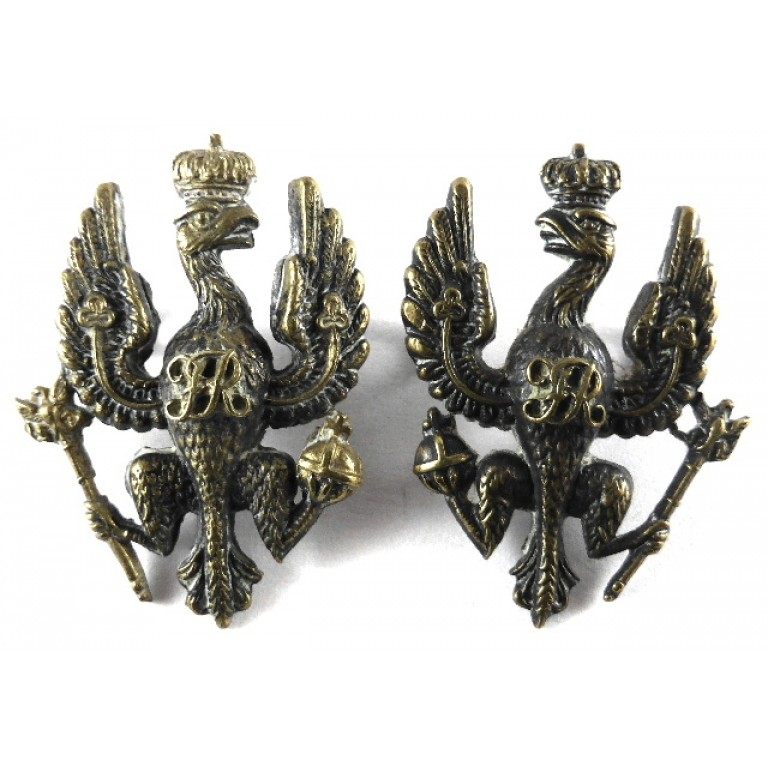 14/20th Hussars Officers Blackened Brass Collar Badges
