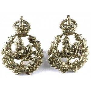 Queens Own Worcestershire Hussars All Brass Collar Badges