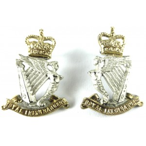 Royal Irish Rangers Officers Silver/Gilt Plated Collar Badges