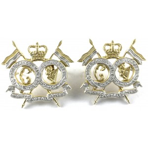 The Queens Royal Lancers Officers Silver/Gilt Plated Collar Badges