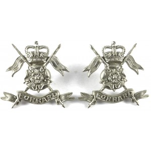 Yorkshire Yeomanry White Metal Collar Badges