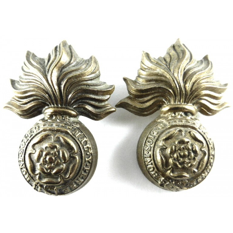Royal Fusiliers Victorian Brass Collar Badges