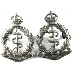 Royal Army Medical Corps Volunteers White Metal Collar Badges