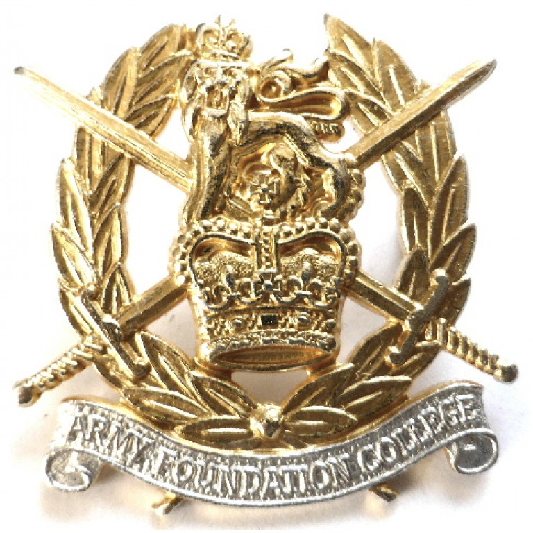 Army Foundation College Silver/Gilt Plated Cap Badge