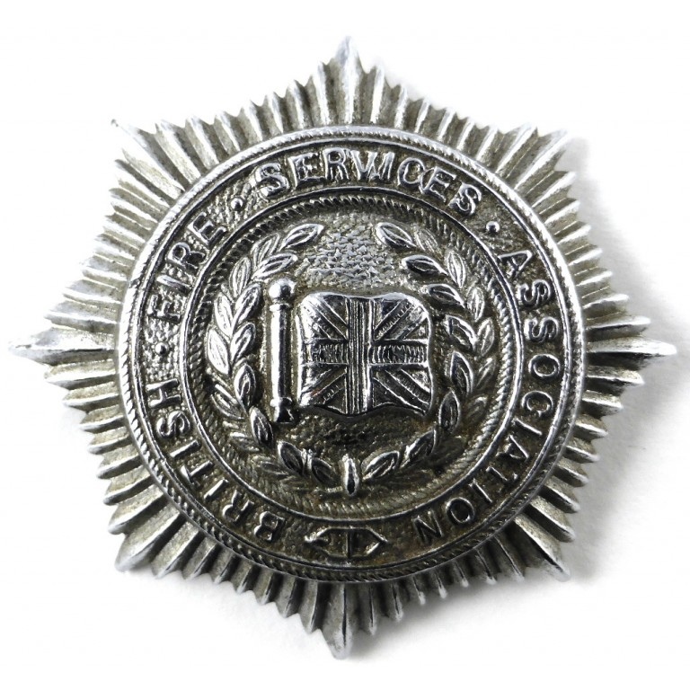 British Fire Service Association Chrome Cap Badge