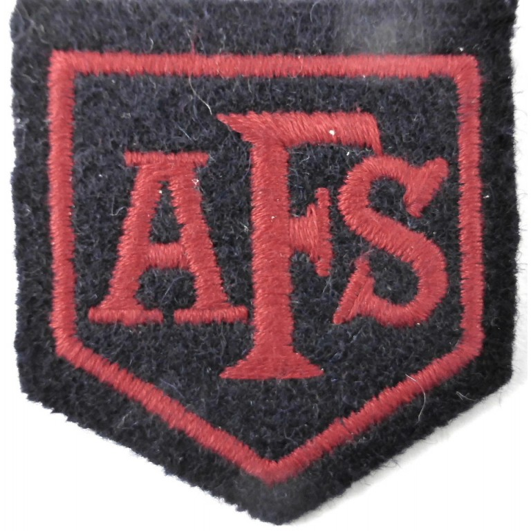 Auxiliary Fire Service Cloth Badge 67x68mm