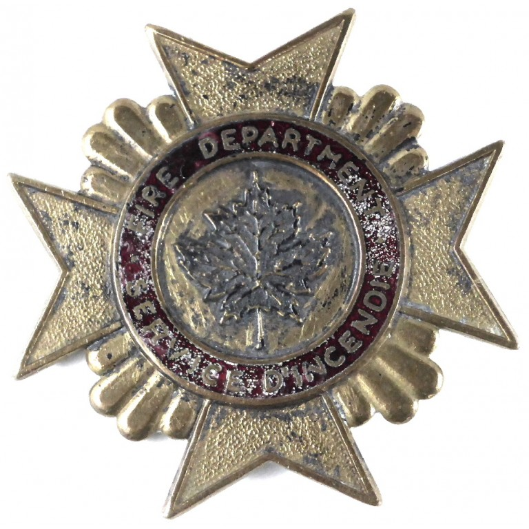Canadian Fire Service Brass Cap Badge