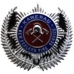 New Zealand Kawerau Fire Service Chrome/Enamel Cap Badge