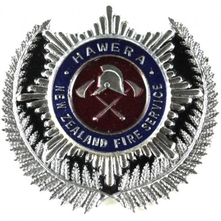 New Zealand Hawera Fire Service Chrome/Enamel Cap Badge