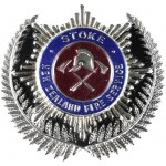 New Zealand Stoke Fire Service Chrome/Enamel Cap Badge