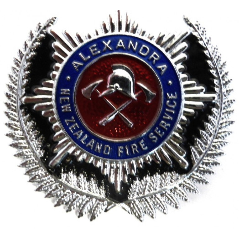 New Zealand Alexandra Fire Service Chrome/Enamel Cap Badge
