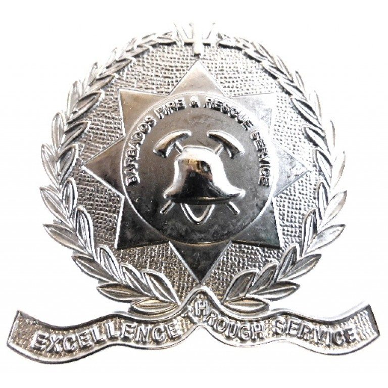 Barbados Fire & Rescue Service Chrome Cap Badge