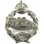 Canadian Tank Corps White Metal Military Cap Badge