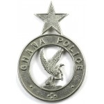Ghana Police Large White Metal Helmet Badge