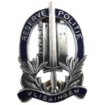 Netherlands Reserve Police Vlissingen Grey Metal Breast Badge