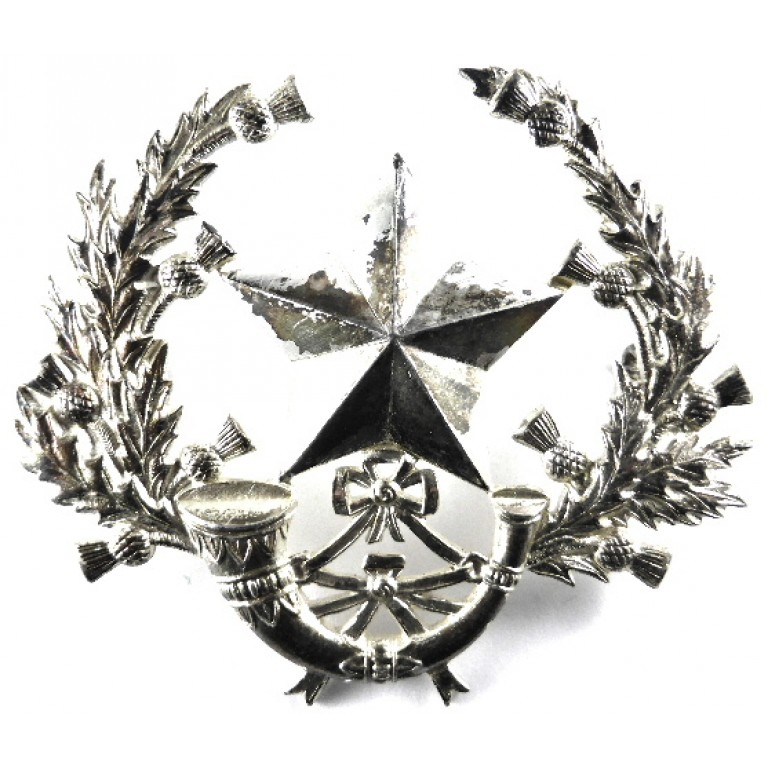 Cameronians Very Large Sergeant`s Silver Plated Cap Badge