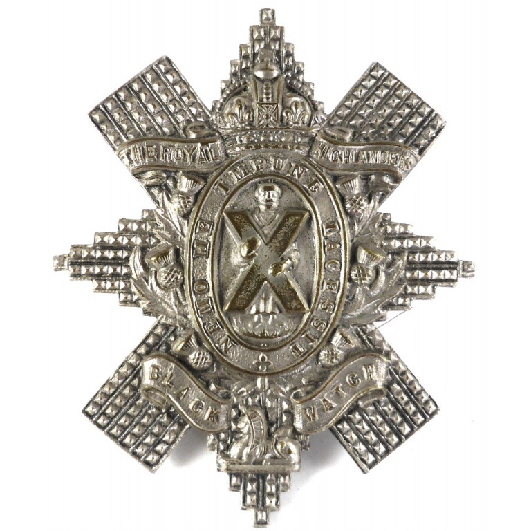 Black Watch White Metal Cap Badge