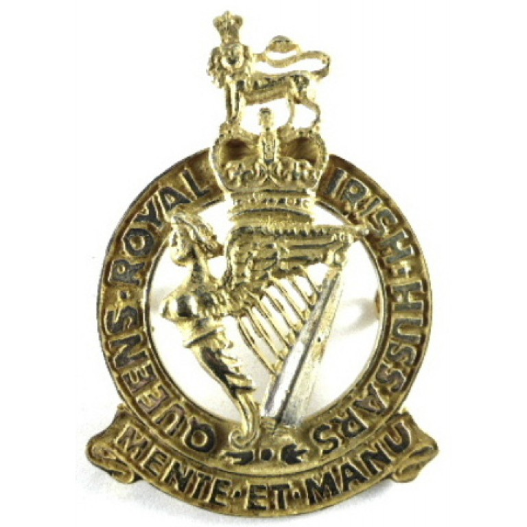 Queens Royal Irish Hussars Gilt Cap Badge