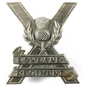 Genuine Lowland Regiment Scarce White Metal Cap Badge