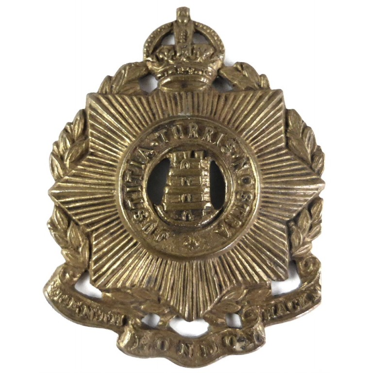 10th London Hackney Regiment Brass Cap Badge