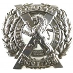 14th London Scottish White Metal Cap Badge