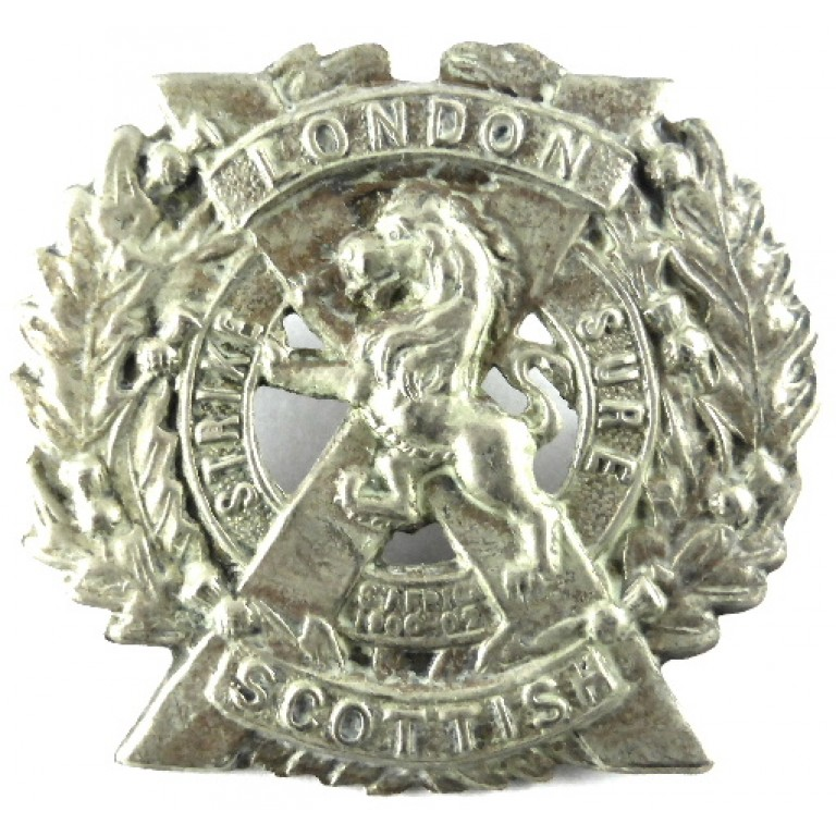 14th London Scottish White Metal Cap Badge 48mm Tall